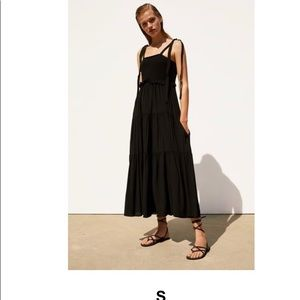Zara Black Strappy Maxi Dress Sz Small